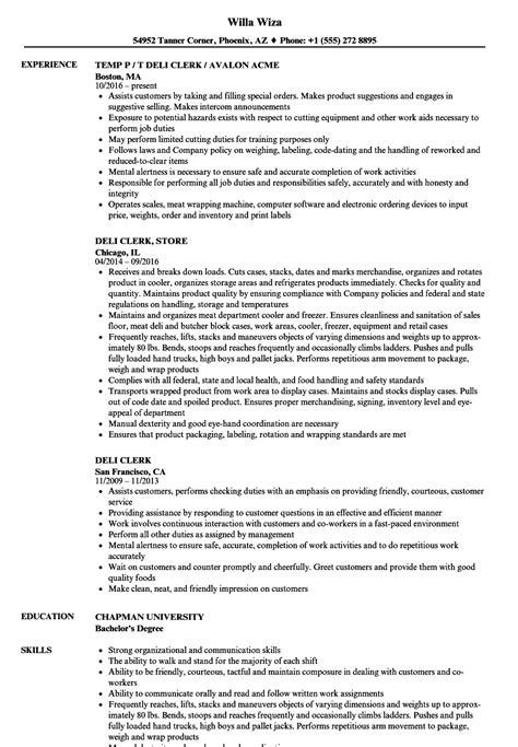 deli associate sle resume retail sales clerk cover letter