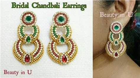 make jewelry at home bridal chandbali earrings at home designer
