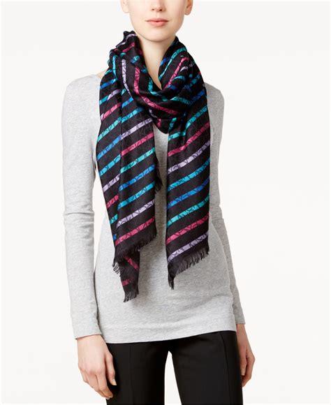Stripe Pashmina calvin klein logo stripe pashmina scarf in black black