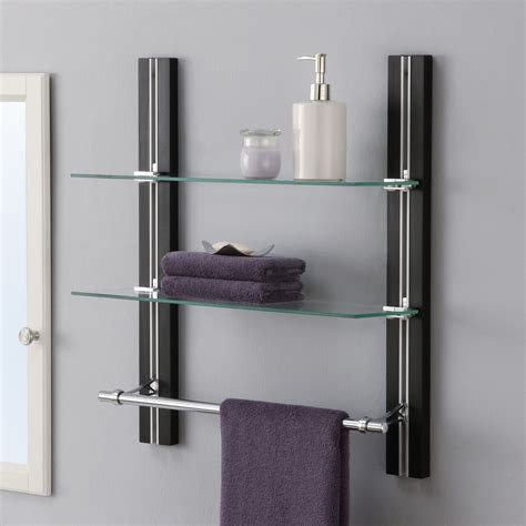 glass wall shelves for bathroom complete your bathroom with storage for towel homesfeed