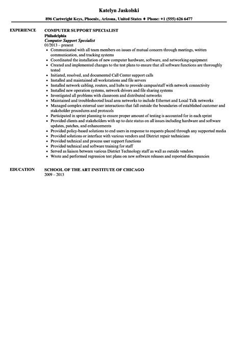 Specialist Resume by Computer Support Specialist Resume Sle Velvet