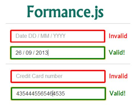 Credit Card Form Validation Script formance js jquery library for formatting and validating
