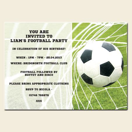 football birthday card template why make your own football invitations dotty about