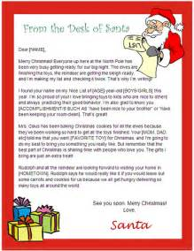 A Letter From Santa Template Santa Letter Templates Com