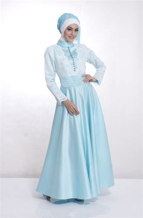 Gamis Syari I Zafina Toska gaun pesta muslim mewah dan elegan dengan warna warna cerah