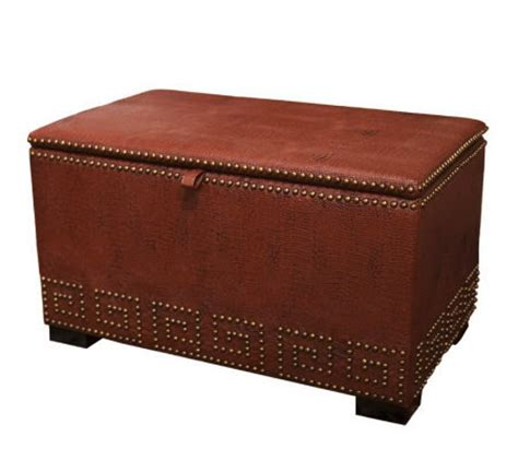 Linda Dano Greek Key Nailhead Detail Storage Ottoman Nailhead Storage Ottoman