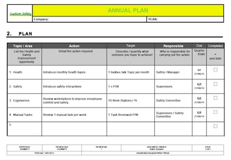 ohs management plan template ohs annual plan template