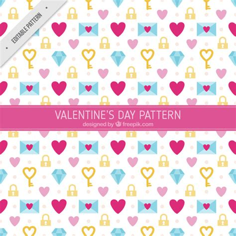 design pattern to create objects decorative objects of valentine in flat design pattern