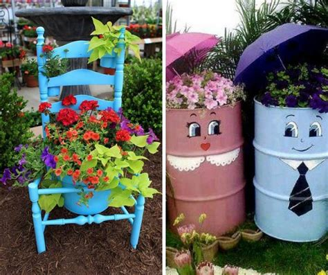 recycled items  add personality   garden