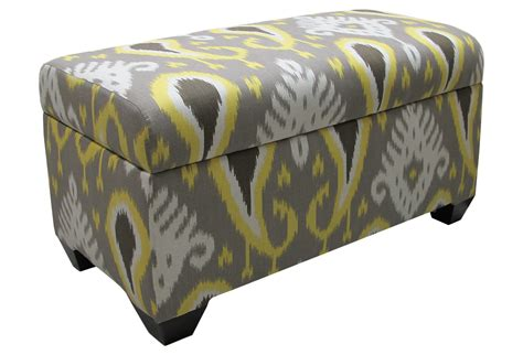 Yellow Leather Storage Ottoman Arthur Storage Ottoman Gray Yellow Ikat From One