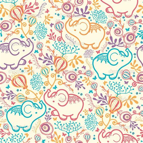 pattern elephant background elephant pattern background elephants with flowers