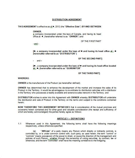 distributorship agreement template agreement templates 31 free word pdf documents