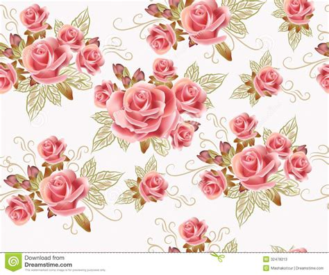 background design rose cute seamless wallpaper design with rose flowers stock
