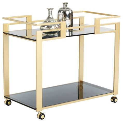 houzz bar cart artefac glamorous bar cart with matte gold steel frame