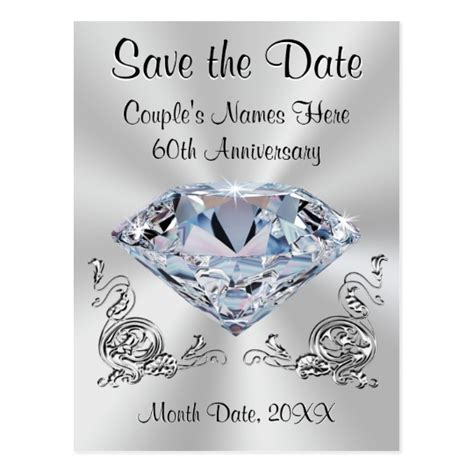 Save The Date Anniversary Templates 60th Anniversary Save The Date Cards Personalized Zazzle Com