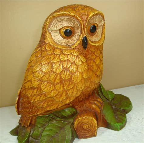 home decor owl vintage golden owl home decor knicknack figurine wildlife
