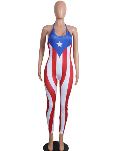 Dear Fashion Ask Fashion 18 by Wholesale Flag Print Bodycon Jumpsuit Ma 019 For S