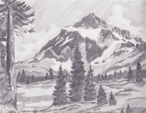 Landscape Drawing Mountain Landscape By Melmo1123 On Deviantart