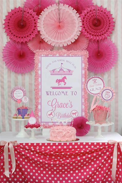 pink theme decorations pink and purple carousel birthday via kara s