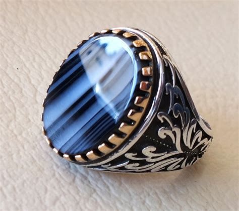black flat sterling silver 925 ring striped
