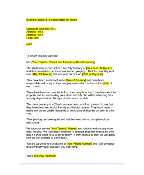 Landlord Reference Letter For Tenant Uk Sle Tenant Recommendation Letter 7 Exles In Word Pdf