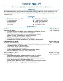 Auto Mechanic Resume Exles by Entry Level Mechanic Resume Sle My Resume