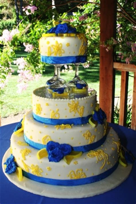 blue and yellow wedding cupcakes idea untuk e day theme iezana story