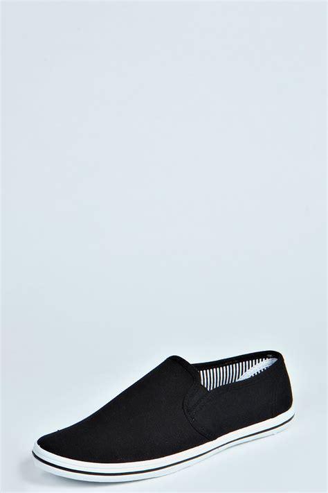boohoo mens slip on shoes plimsolls in black ebay