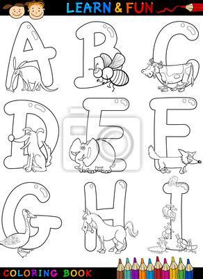 Buchstaben Sticker Libro by Sticker Cartoon Alphabet Mit Tieren Zum Ausmalen Buch