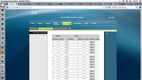 port range port range forwarding on cisco dpc3827 docsis 3 0