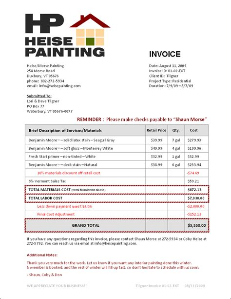 painters invoice template painting invoice studio design gallery best design