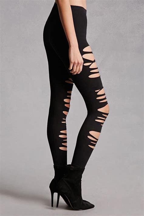 Forever21 Branded Legging forever 21 ripped in black lyst