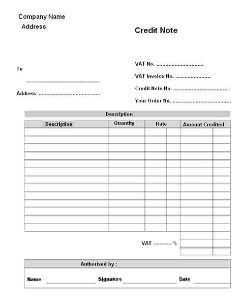 Credit Note Form No 9 June 2012