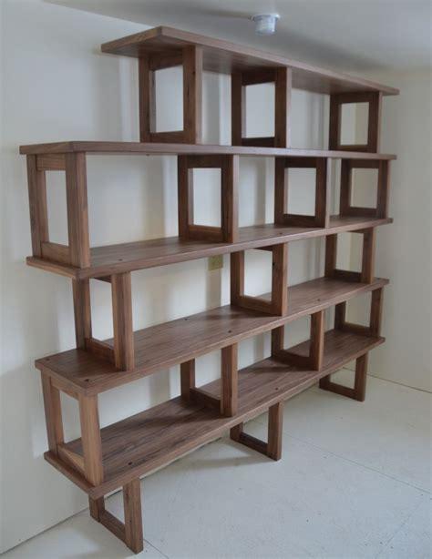 handmade walnut bookcase modern  modular  packsaddle