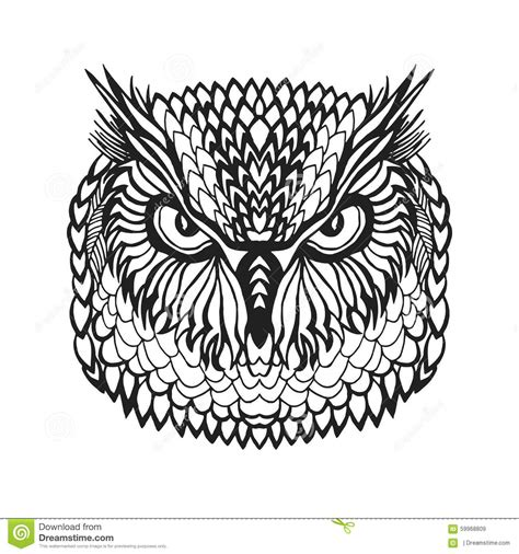 tribal pattern black and white shirt zentangle stylized eagle owl head tribal sketch for