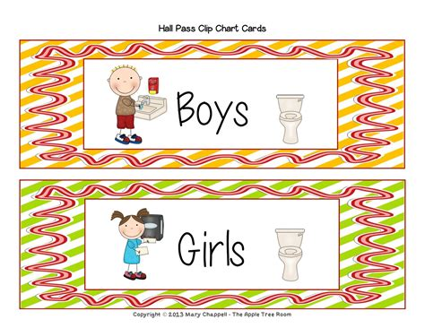 girls bathroom pass the apple tree room hall pass set