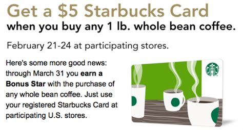 Where Can I Buy Ll Bean Gift Cards - starbucks free 5 gift card when you purchase a bag of whole bean coffee money saving mom 174