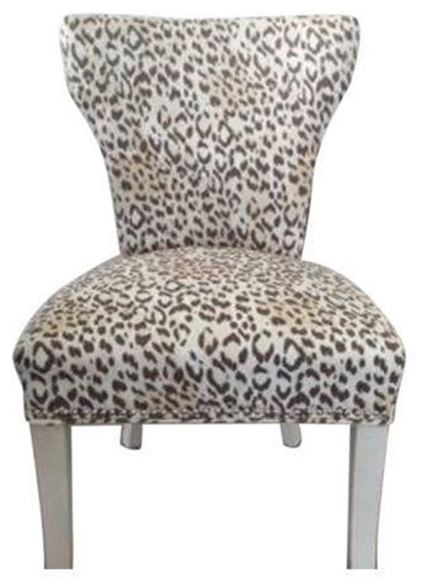 Leopard Print Dining Chairs Leopard Print Upholstered Chairs Set Of 4 Modern Dining Chairs By Chairish