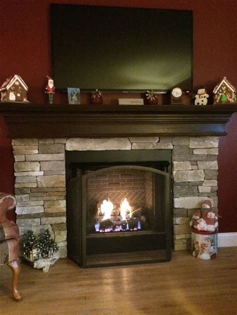 completely installed gas fireplace with custom