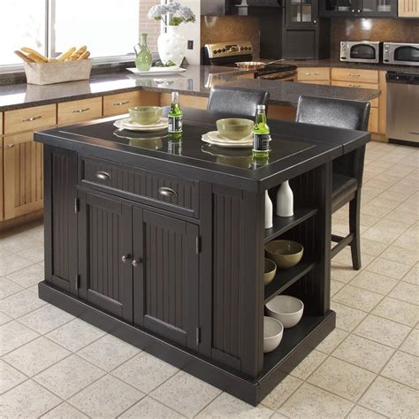 Cheap Portable Kitchen Island | black kitchen island with stools discount islands