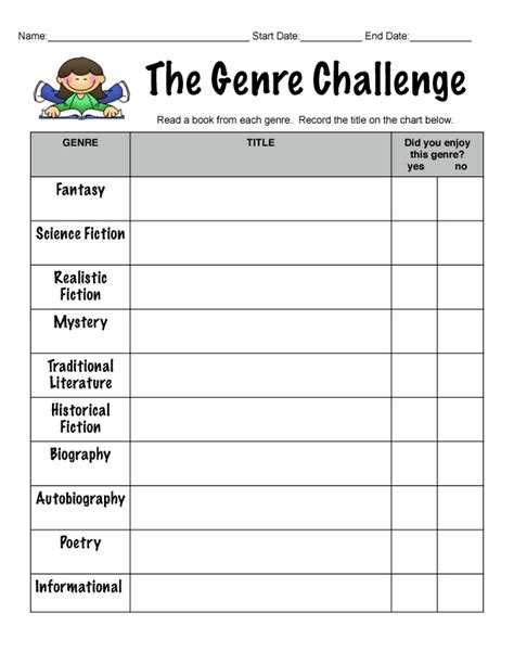 free printable reading log with genre clutter free classroom teaching genre