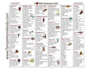 free printable shopping list by category grocery list free printable template ta homebody