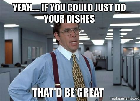 Dishes Meme - yeah if you could just do your dishes that d be great