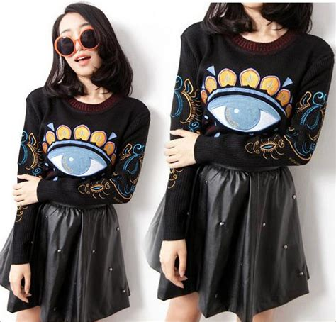 Eye Pattern Clothes | women s clothing free shipping eye pattern sweaters