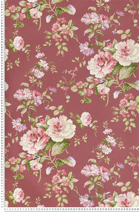 Tapisserie Fleur by Fleurs Classiques Roses Fond Amarante Papier Peint