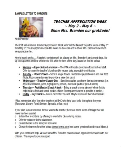 Appreciation Week Letter To Parents appreciation letters 7 free documents in word pdf