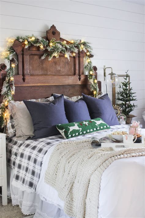 how to decorate your bedroom for christmas rustic christmas master bedroom shades of blue interiors