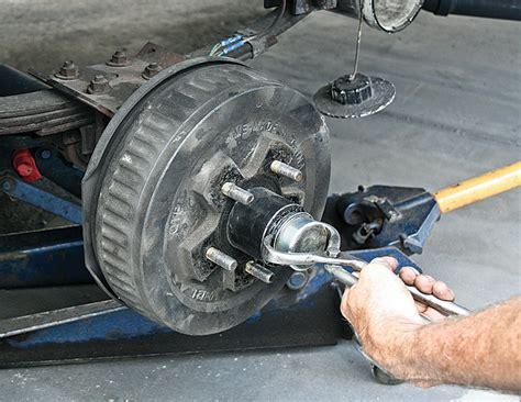 boat trailer wheel hub removal bearing down repacking rv wheel bearings