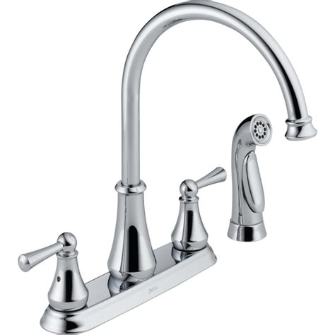 two handle kitchen faucets shop delta lewiston chrome 2 handle deck mount high arc kitchen faucet at lowes