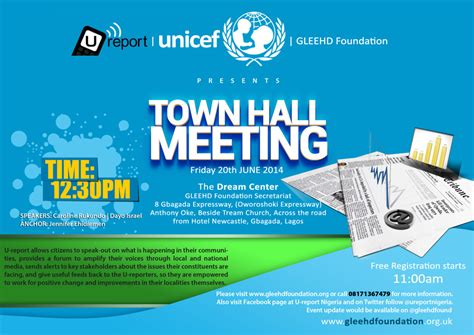 Gleehd Foundation Invites You To The Unicef U Report Town Hall Meeting Omojuwa Com Town Invite Template